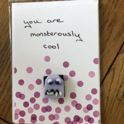 Fused Glass 'Monster on a handwritten card' Magnetic Charm Pink