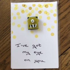 Fused Glass 'Monster on a handwritten card' Magnetic Charm Yellow