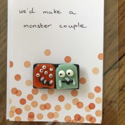 Fused Glass 'Monsters on a handwritten card' Magnetic Charm