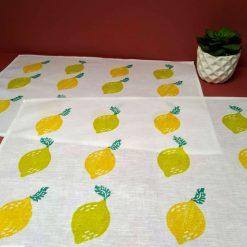 Hand printed lemon and lime design linen/cotton place mats