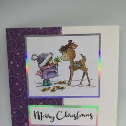Girl with reindeer - purple swirl
