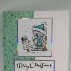 Grey bear waiting for santa - green snowflake