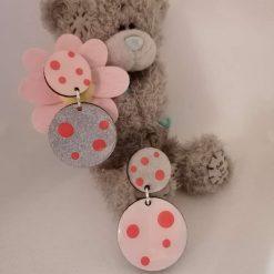 Earrings pink silver miss match