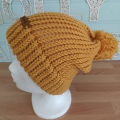 Adult Mustard Yellow Knitted Slouchy Hat with Pom Pom