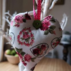 Pretty Red Flowers and Hearts Hanging Heart Decoration