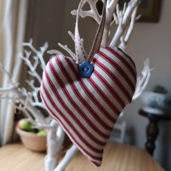 Pretty Red Ticking Hanging Heart Decoration