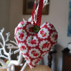 Pretty Red and White Cowboy Hanging Heart Decoration
