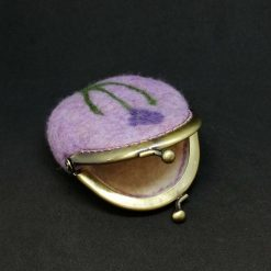 Lilac wet felted coin purse with needle felted flower motive