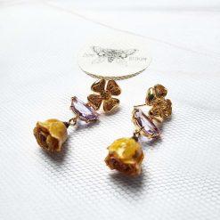 Yellow real drop rose  dangle,crystal earrings.