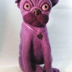 Needle felted Purple Pug