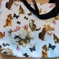 Hand made Playing cats design fully lined tote bag with inside pocket, and 20 inch handles.