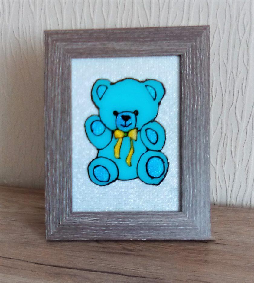 Glass Art: Blue teddy 1