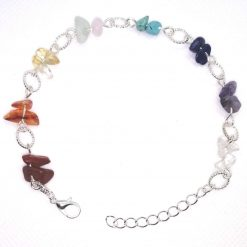 Genuine crystal chakra bracelet with tibetan silver charm