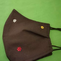 Black cotton with rhinestones Design for these hand made cotton washable Face mask with 2 layers, ear elastic in a size medium.
