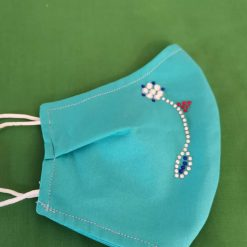 Blue cotton with rhinestones Design for these hand made cotton washable Face mask with 2 layers, ear elastic in a size medium.