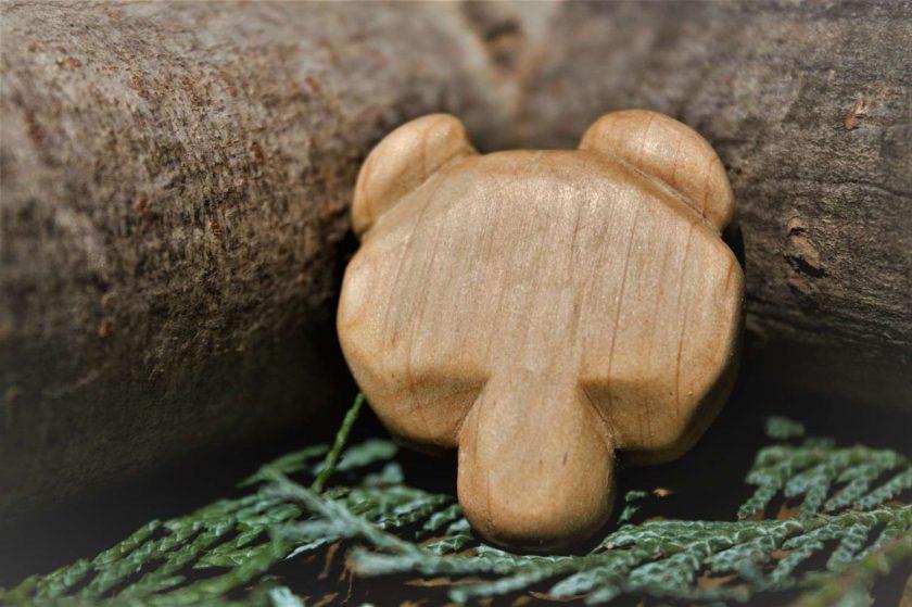 Hand Carved Wooden Bear Magnet 1