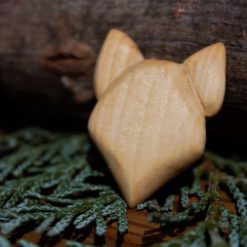 Hand Carved Wooden Fox Magnet