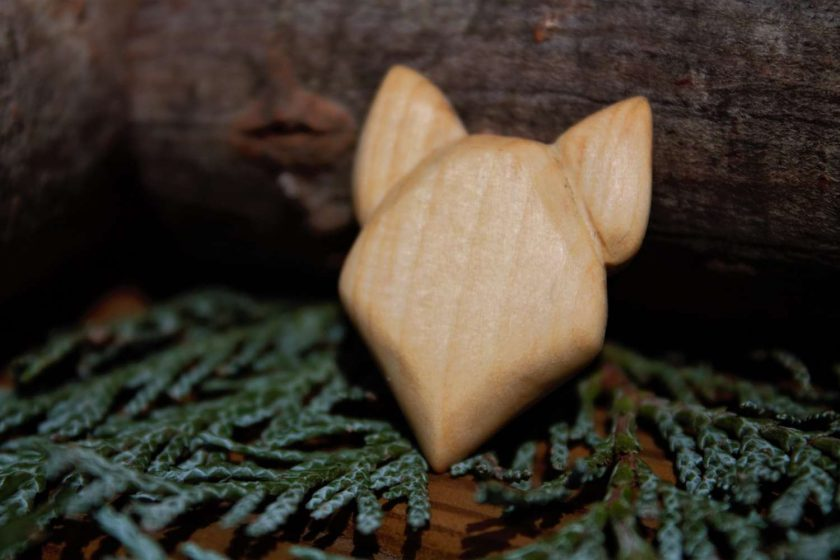 Hand Carved Wooden Fox Magnet 1