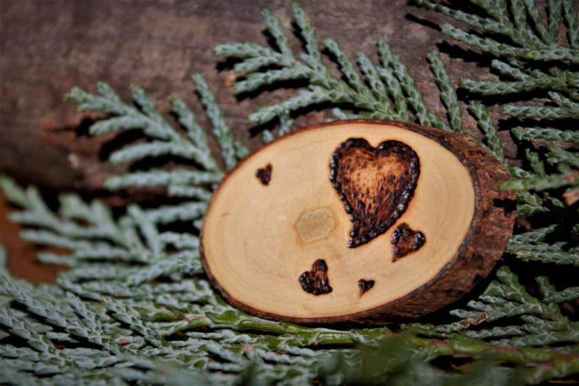 Heart Magnet (Wood Pyrography) 1