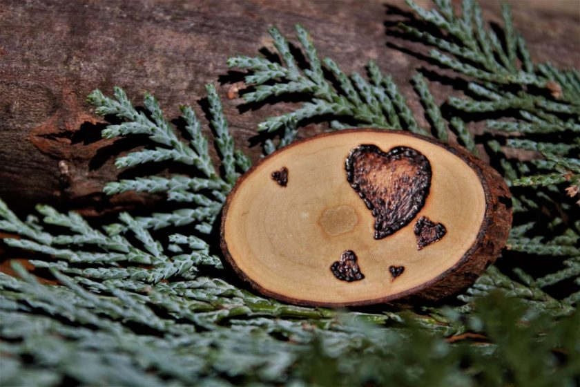 Heart Magnet (Wood Pyrography) 2