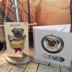 Pug Lover Set - Card and Wooden Hanging Banner - Glittery Nose Detail and Satin Bow
