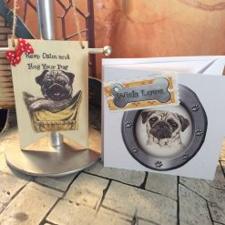 Pug Lover Card and Hanging Banner Set with Red Spotty Bow