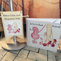 Girl's Best Friend Card and Wooden Banner Set - For Dog Lovers Everywhere!  Poodle Lovers!