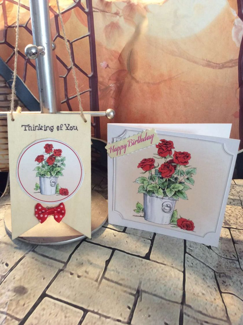 Happy Birthday Wooden Plaque and Card Gift Set - Red Rose Plant