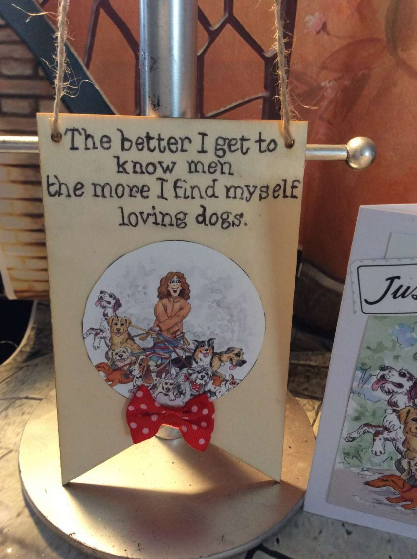 Dog Lover's Wooden Hanging Banner and Matching Card - For All Dog Loving Ladies