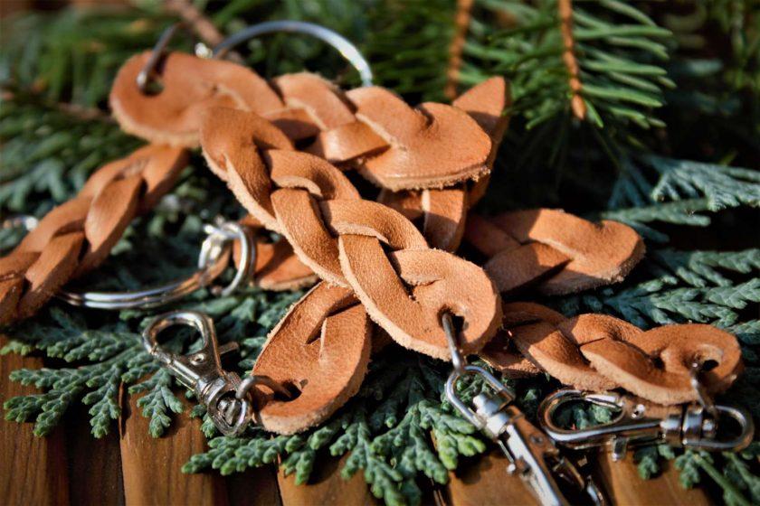 Leather Weave Keyring Set