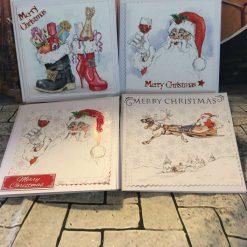 Set of 4 Handmade Christmas Cards - Modern Set 1