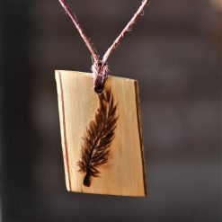 Feather Wooden Necklace (Pyrography)