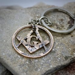 The Square and Compasses Freemasonry's Universal Logo cut into a Victorian Penny, Keychain