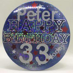 "Personalised -Giant ""Happy Birthday Blue holographic party badge// Birthday badge// Happy birthday badge// Happy birthday pin// Party decoration"
