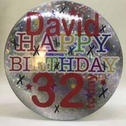 """Personalised -Giant """"Happy Birthday Silver holographic party badge// Birthday badge// Happy birthday badge// Happy birthday pin// Party decoration"""
