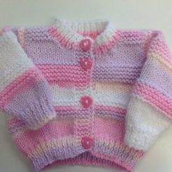 Hand knitted white baby cardigan premature 3/5lb