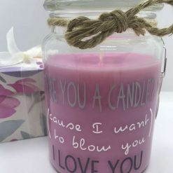 Funny-Fun-Loving Gift candle for your fella Are you a candle? (cause I want to blow you) I love you