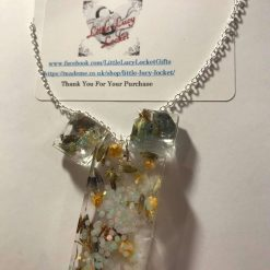 Resin Jewellery Set - Oblong Pendant on Silver Plated Chain, Square Stud Earrings and Matching Comb - all set with dried lavender 1
