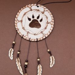 Pyrography Wooden Dreamcatcher, Wolf Paw Print, Wooden feathers, Handmade.
