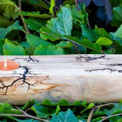 Incense and TeaLight Holder, Lichtenberg Figuring, Chunky Sycamore Wood, Handmade.