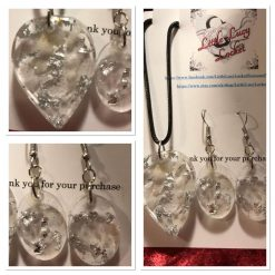 Resin Jewellery Set  with Northumbrian Milky White Quartz and Silver Foil Flakes