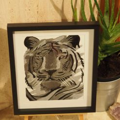 tiger thread painting.  Artwork.  Home decore 5