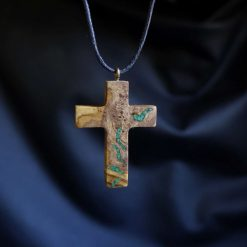 Cross Necklace. Olive Wood With Stone Inlay. Natural Pippy Olive Root Burl Wood Pendant. Choice of Cords/Chains. Handmade Necklaces