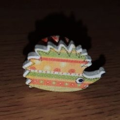 Orange and Green Wooden Hedgehog Needle Minder