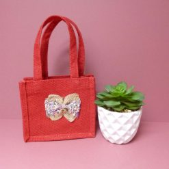 Mini childrens hand appliqued jute bag