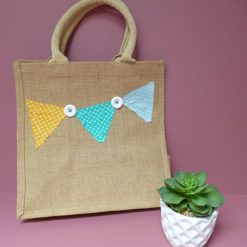 Appliqued bunting design jute shopping bag