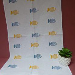 Hand printed fish design cotton tea towel