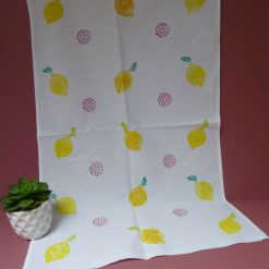 Hand printed lemons design cotton tea towel