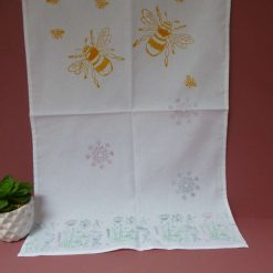 Hand printed bee and flowers design cotton tea towel