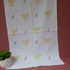 Hand printed cotton chicken design tea towel